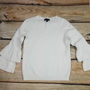 Ann Taylor Sweater Bell Layered Sleeves Cream